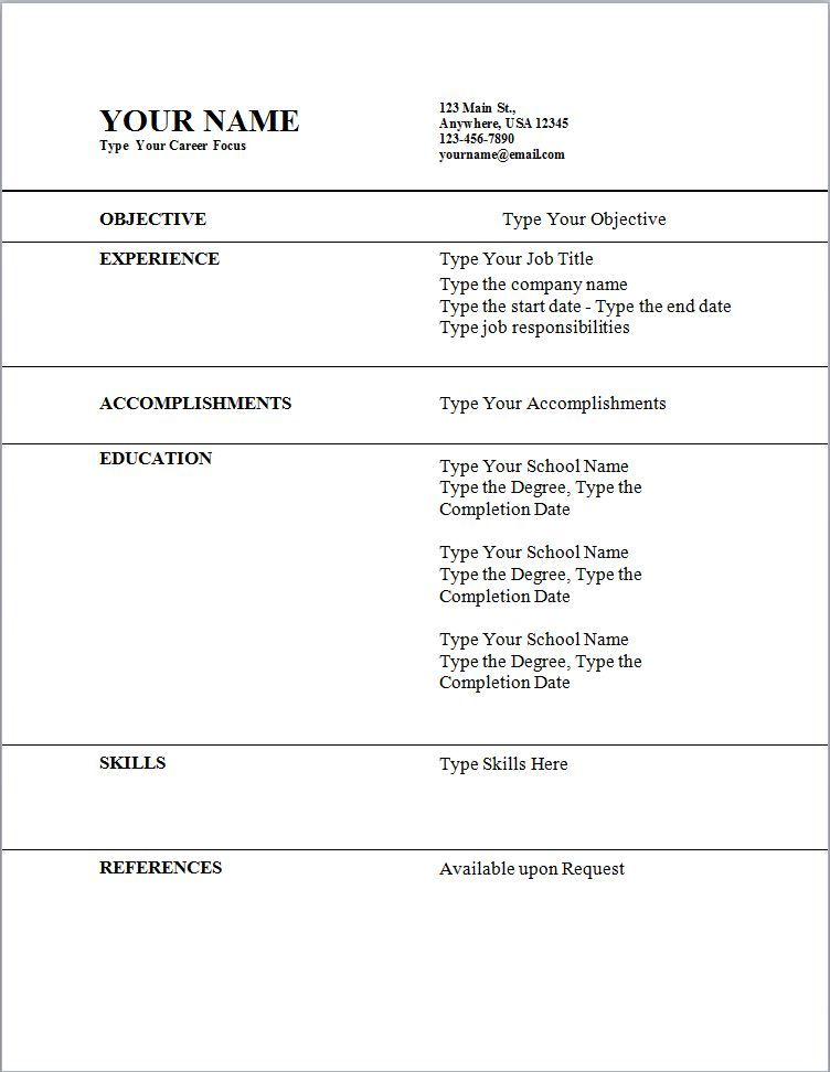 Free Online Resume Templates - Free Online Resume Templates will - free easy resume template
