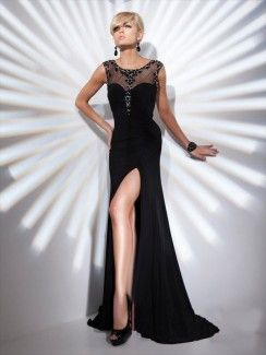 sheath / column scoop beading sleeveless floorlength chiffon prom dresses / evening dresses