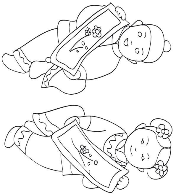 Coloriage sur la chine enfants chinois qui dansent - Coloriage chine ...