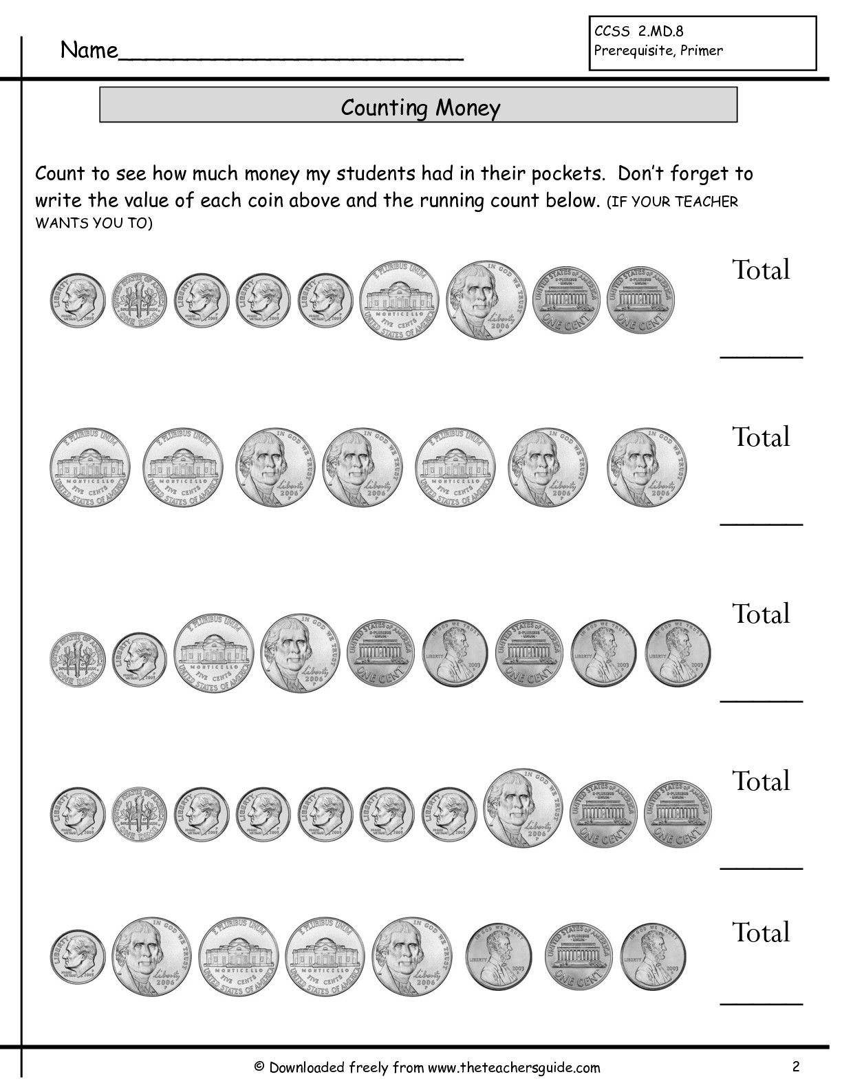 Counting Coins Worksheets From The Teacher S Guide Counting Money Worksheets Money Math Worksheets Money Worksheets