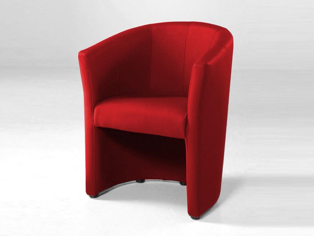 Fauteuil cabriolet moderne TANNA eco cuir rouge | Fauteuil