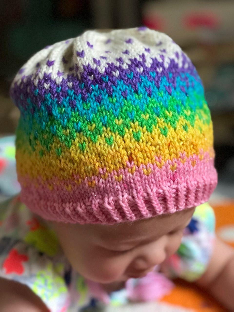 Rainbow Hat - Free pattern | Baby hat patterns | Pinterest | Free ...