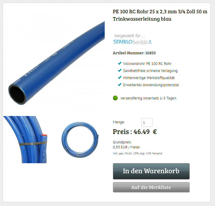 Sehr PE 100 RC Rohr 3/4 Zoll 25 x 2,3 mm 50 m flexible Druckrohr  KF79
