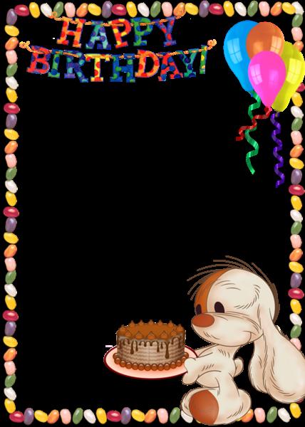 Happy Birthday Card Png ~ Happy birthday kids transparent photo frame with cute bunny im�genes cuadros bordes