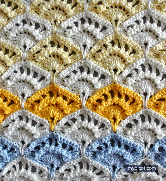 Crochet Textured Shell Stitch Tutorial - (mypicot)   Crochet   Pinterest