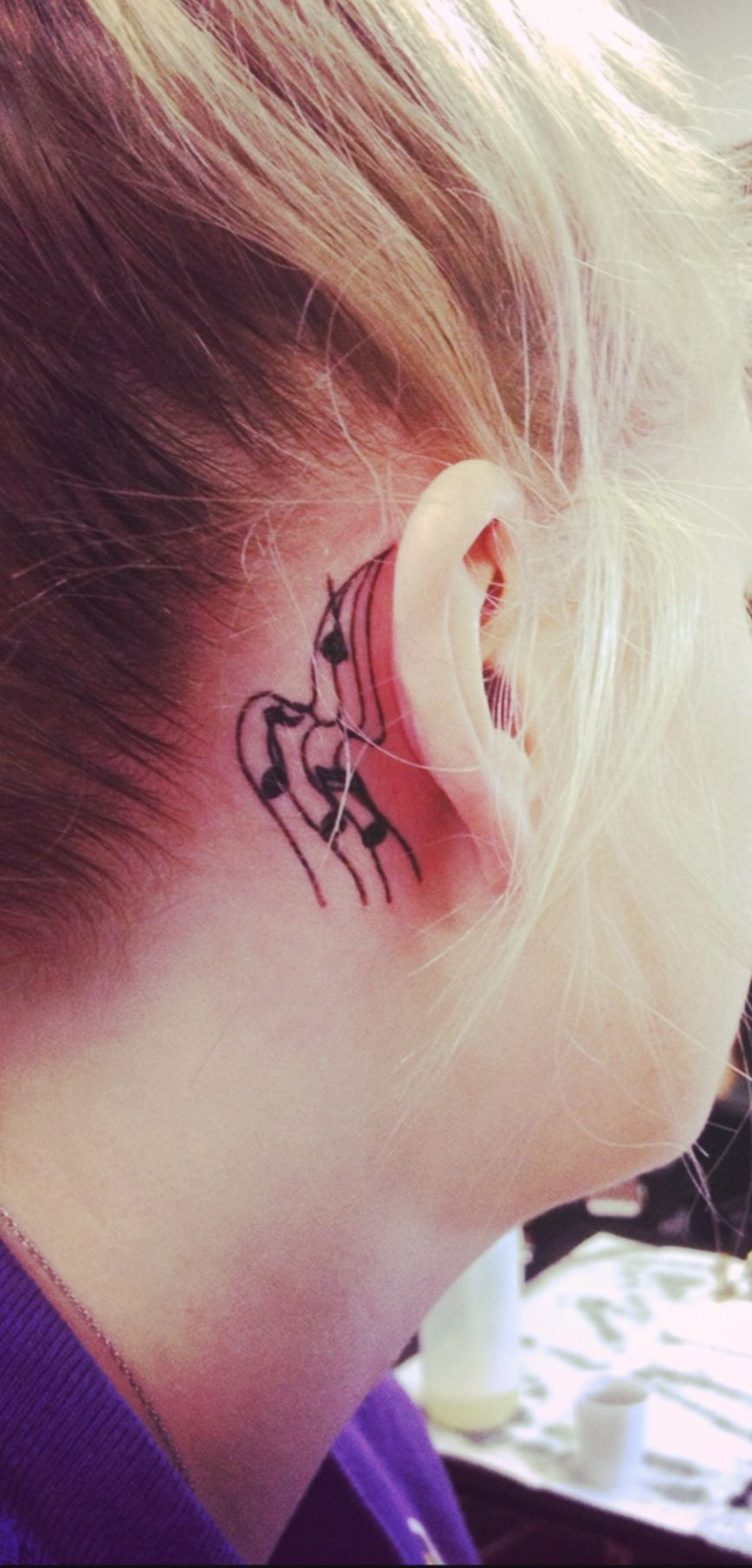 My Music Note Tattoo Behind My Ear Tattoos border=