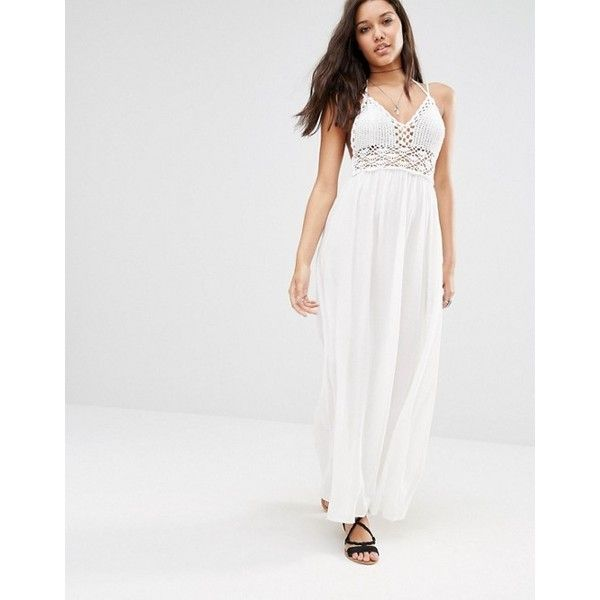 Missguided Crochet Top Maxi Dress (500 ZAR) ❤ liked on Polyvore featuring dresses, halter dress, white halter dress, neck-tie, crochet maxi dress and tall maxi dresses