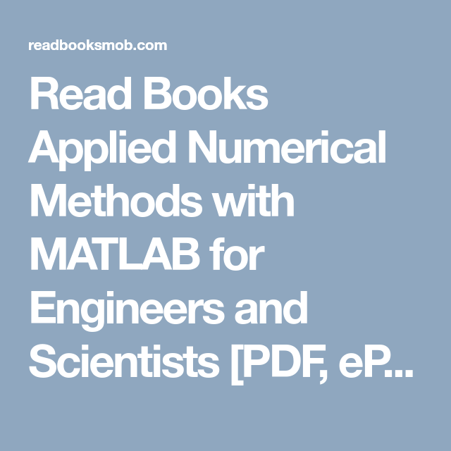 Applied Numerical Methods With Matlab Pdf