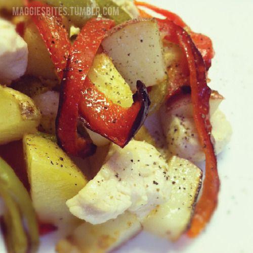 Lemon garlic chicken and roast veggies via Maggies Bites