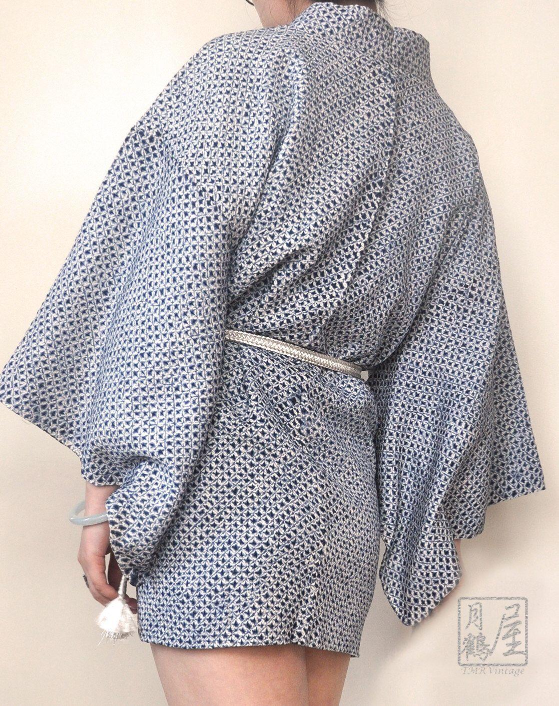 Japanese Kimono Jacket Haori/ Vintage Light Blue Shibori Kimono ...