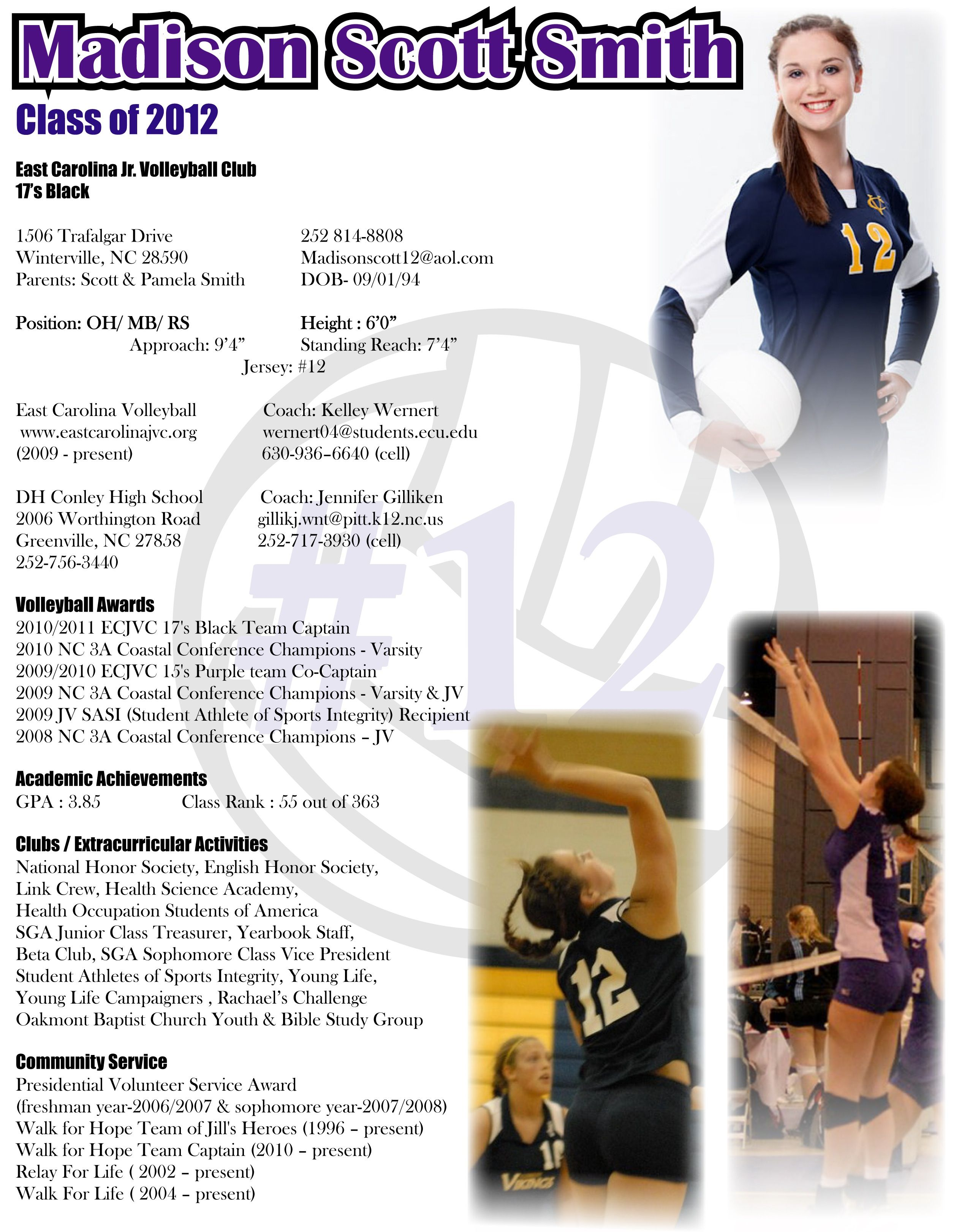 College Sophomore Resume Madison Recruiting Flyer Resume Sports Resumes Recruiting Flyers