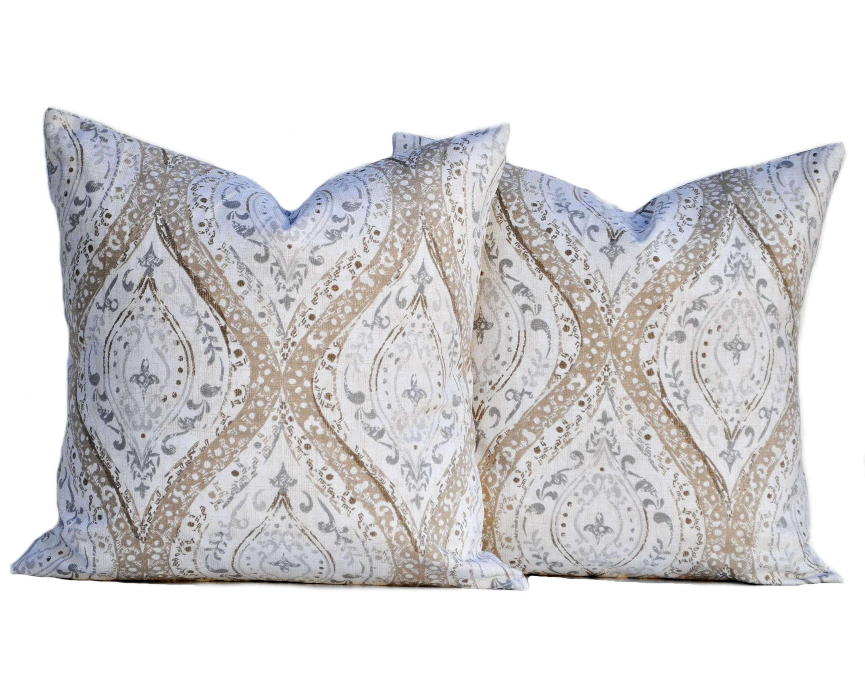 Two Magnolia Pillow Covers Cushion Decorative Throw Pillow Tan