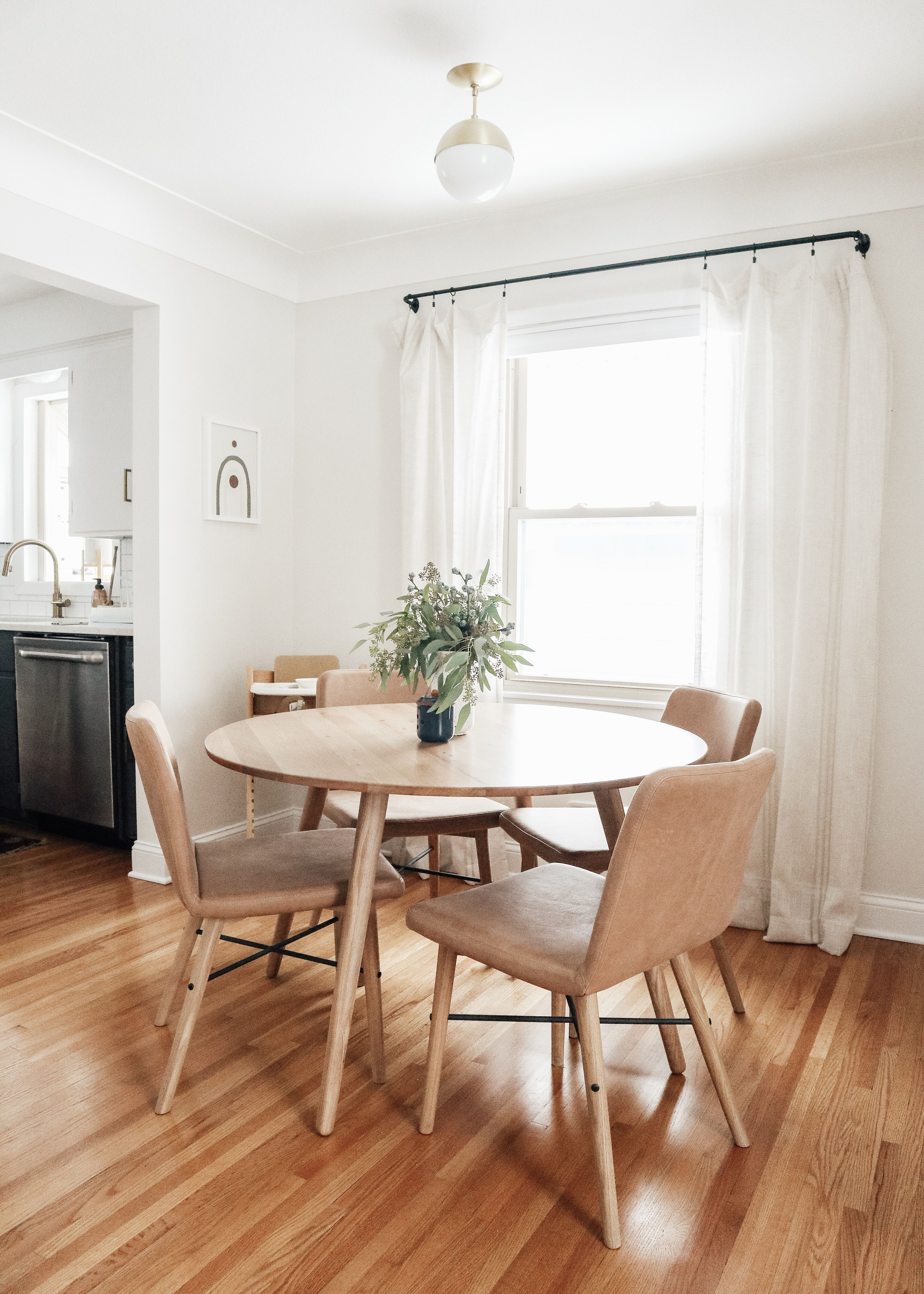 Baby Friendly Living Dining Room Makeover Kitty Cotten Minimalist Dining Area With Light Oak Round Dining Room Spaces Dining Room Small Dining Room Makeover
