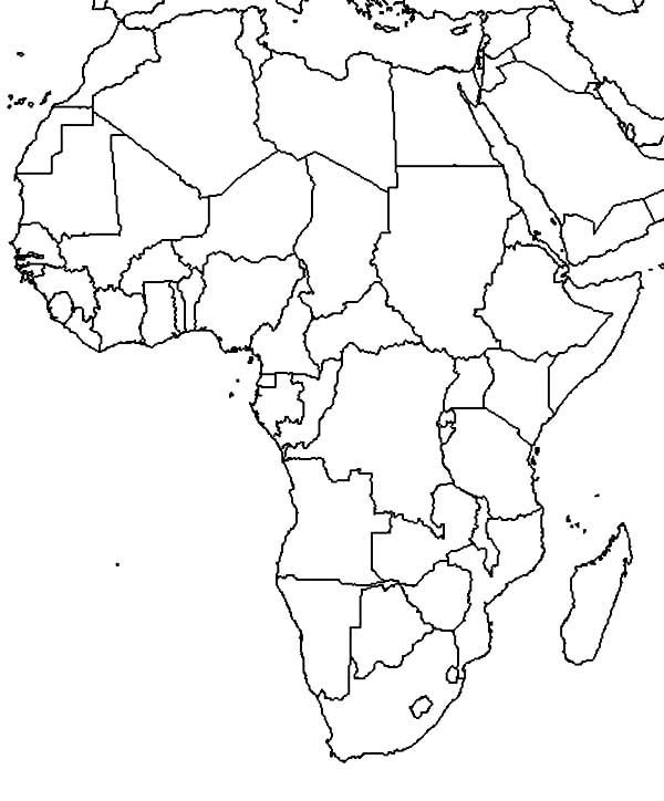 World Map African Countries In Coloring Page