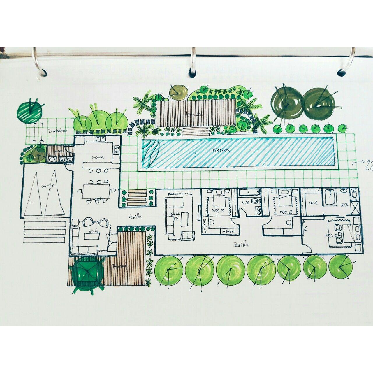 Planta arquitect nica mis bocetos pinterest plantas for Oficinas planta arquitectonica