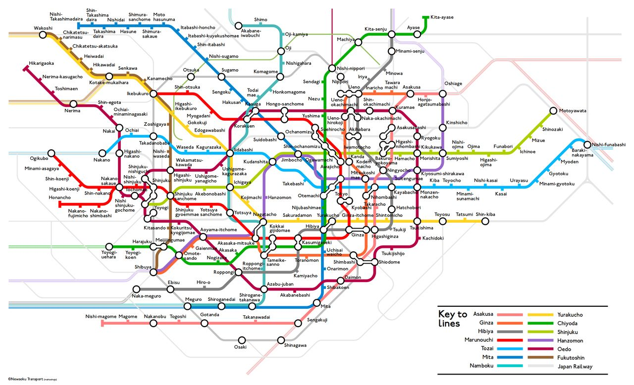 London Tube Map Style Tokyo Subway Map With Images Transit Map