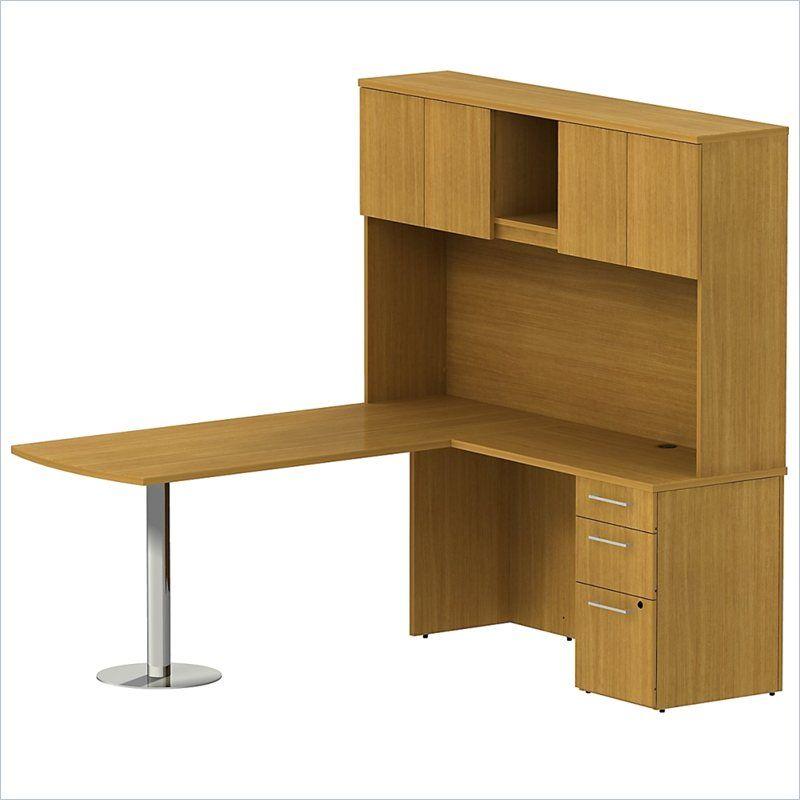 Bush 300 Series 72 L Shape Peninsula Desk With Hutch In Modern Cherry