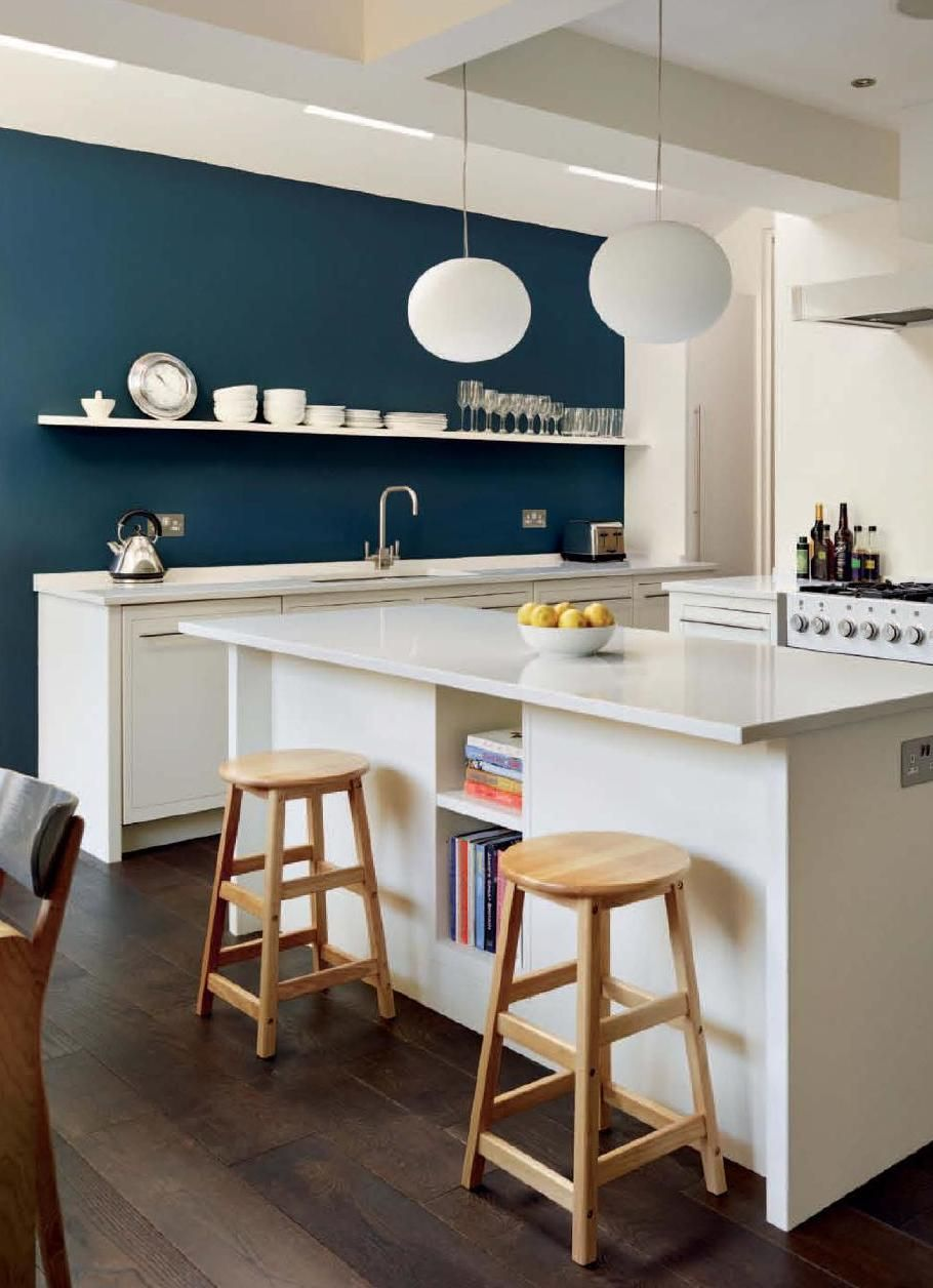 White Kitchen Feature Wall essential_kitchen_bathroom_bedroom white cabinets and hague blue