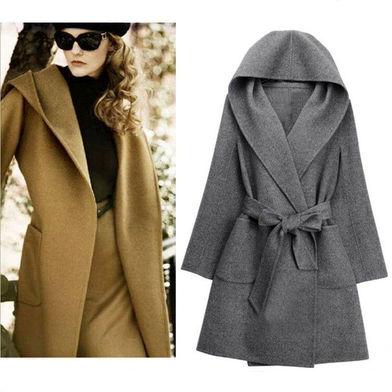 130282da12980 Jacket Coat Women Wool Black Overcoat Belt Hooded Autumn Winter Fashon  Female Gray Outerwear Plus Size S M L XL XXL Camel