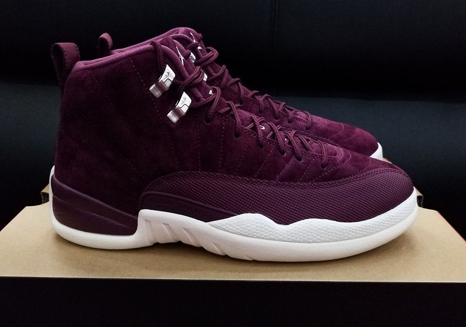 """1b0210752dc29b The Air Jordan 12 gets tasty this fall in a """"Bordeaux"""" colorway featuring  wine-red suede across the upper with white accents. Previewed previously in  men s ..."""