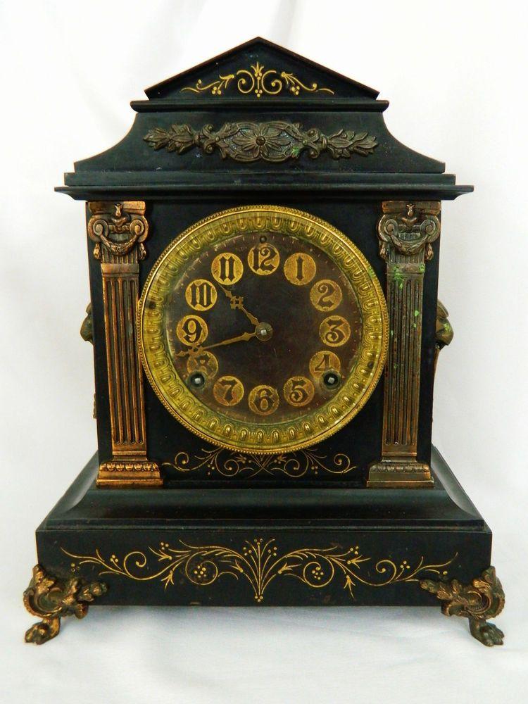 Vintage cast iron mantel clock