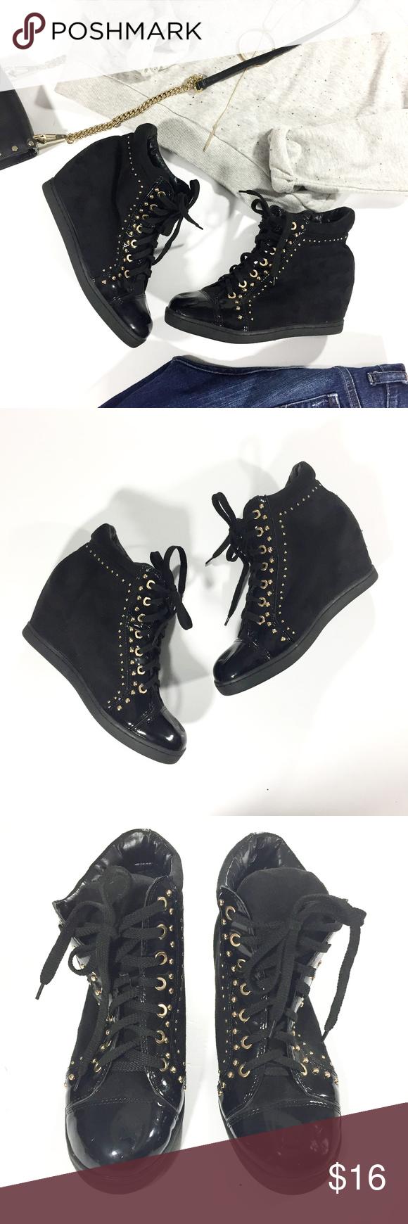 Forever 21 Black Studded Sneaker Wedges
