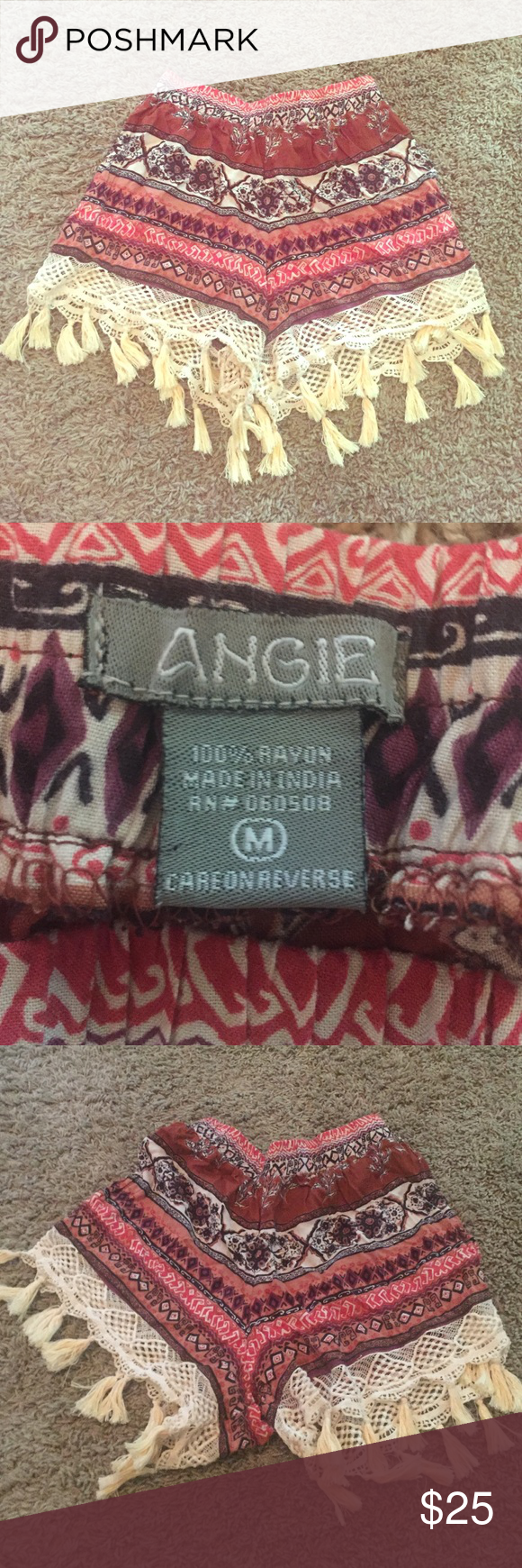 ANGIE Boho Shorts Never worn before, have been sitting in my closet and don't really need them since its cold where I live. Angie Shorts