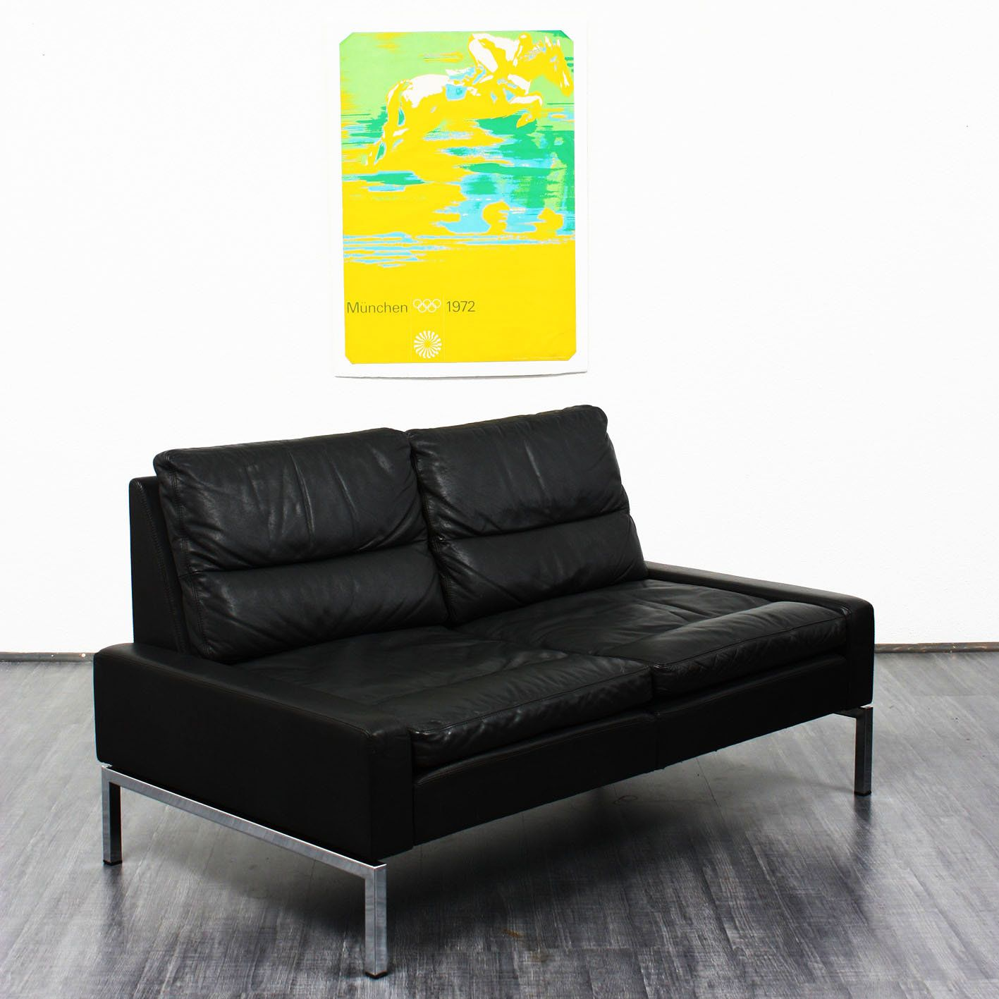 Hans Peter Piehl; Leather and Chromed Metal Sofa for Wilkhahn ...