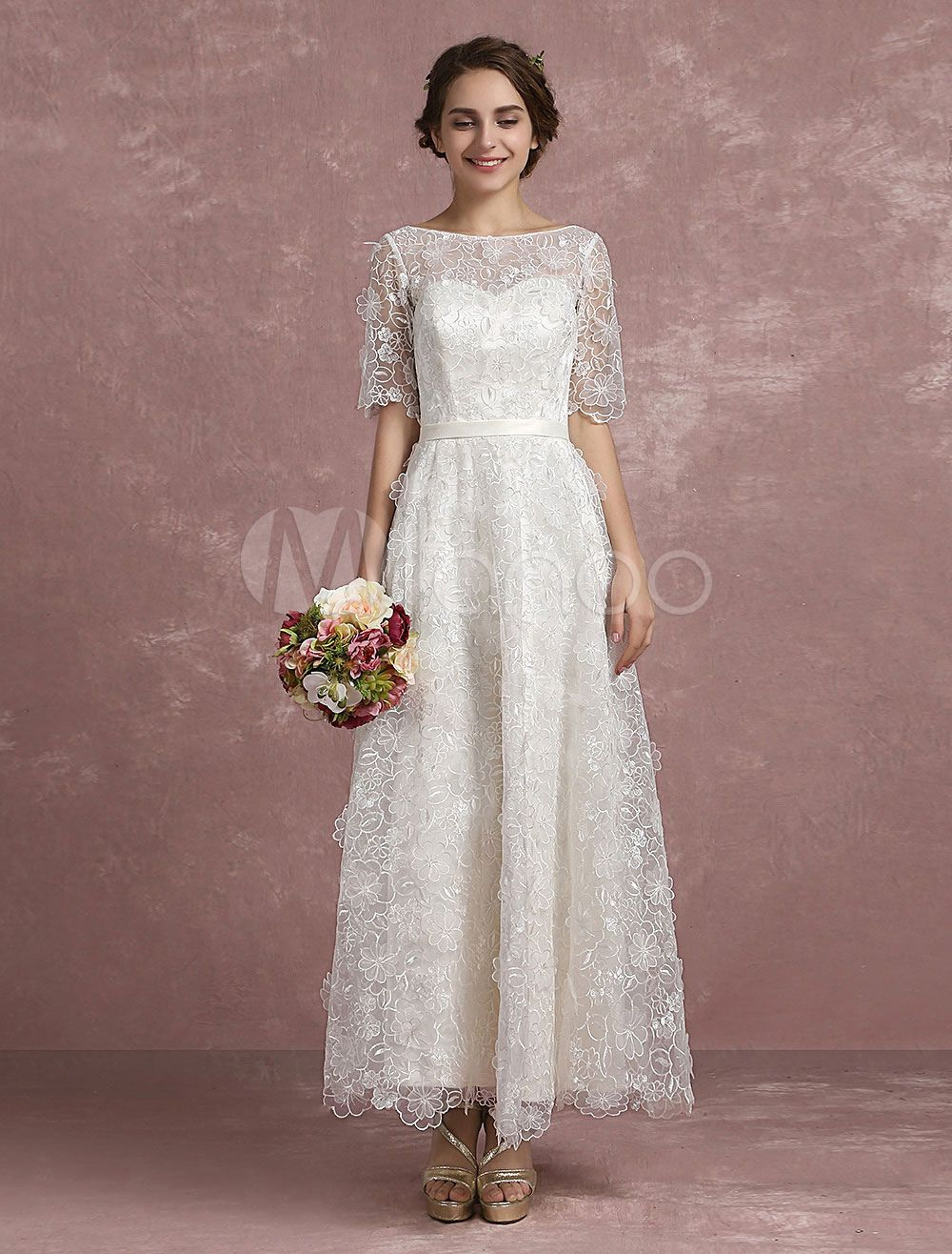 Summer wedding dresses lace illusion sweetheart beach bridal dress