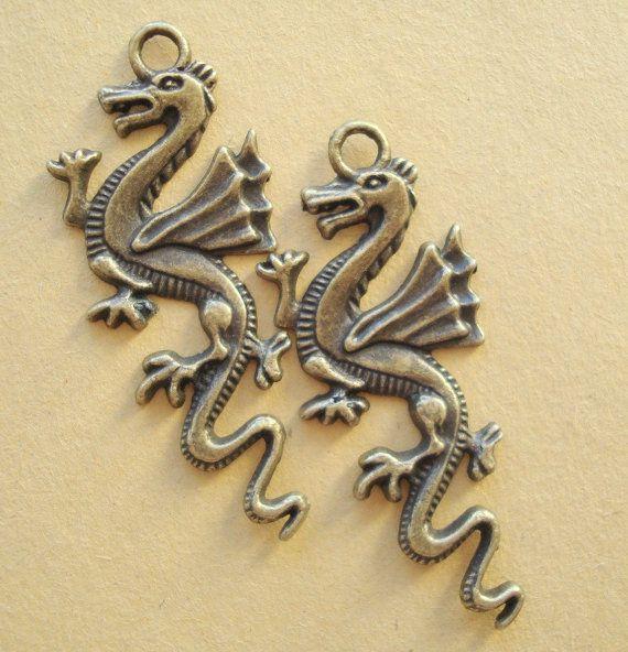 4pcs DRAGON45x20mm Antiqued Bronze/Charms/Pendant by yooounique, $2.99