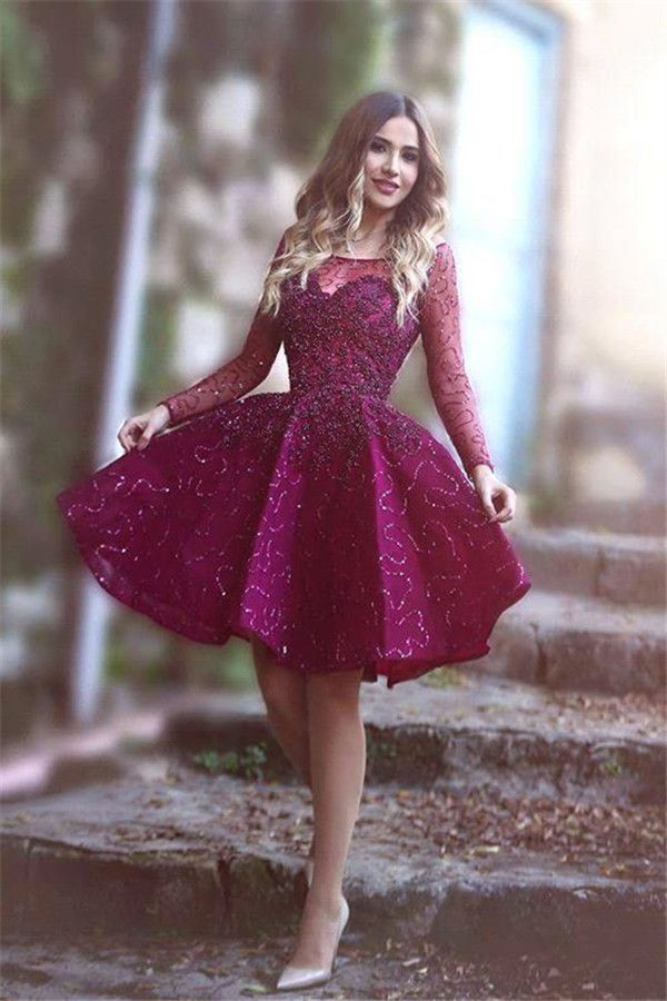 57d3737c4ec A-Line Boat Neck Long Sleeves knee-Length Grape Lace Homecoming ...