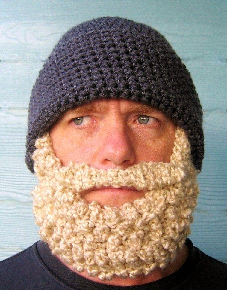 Crocheted+Beard+Hat+Beanie++Dark+Grey+Blonde+di+SimplyCollectible,+$ ...