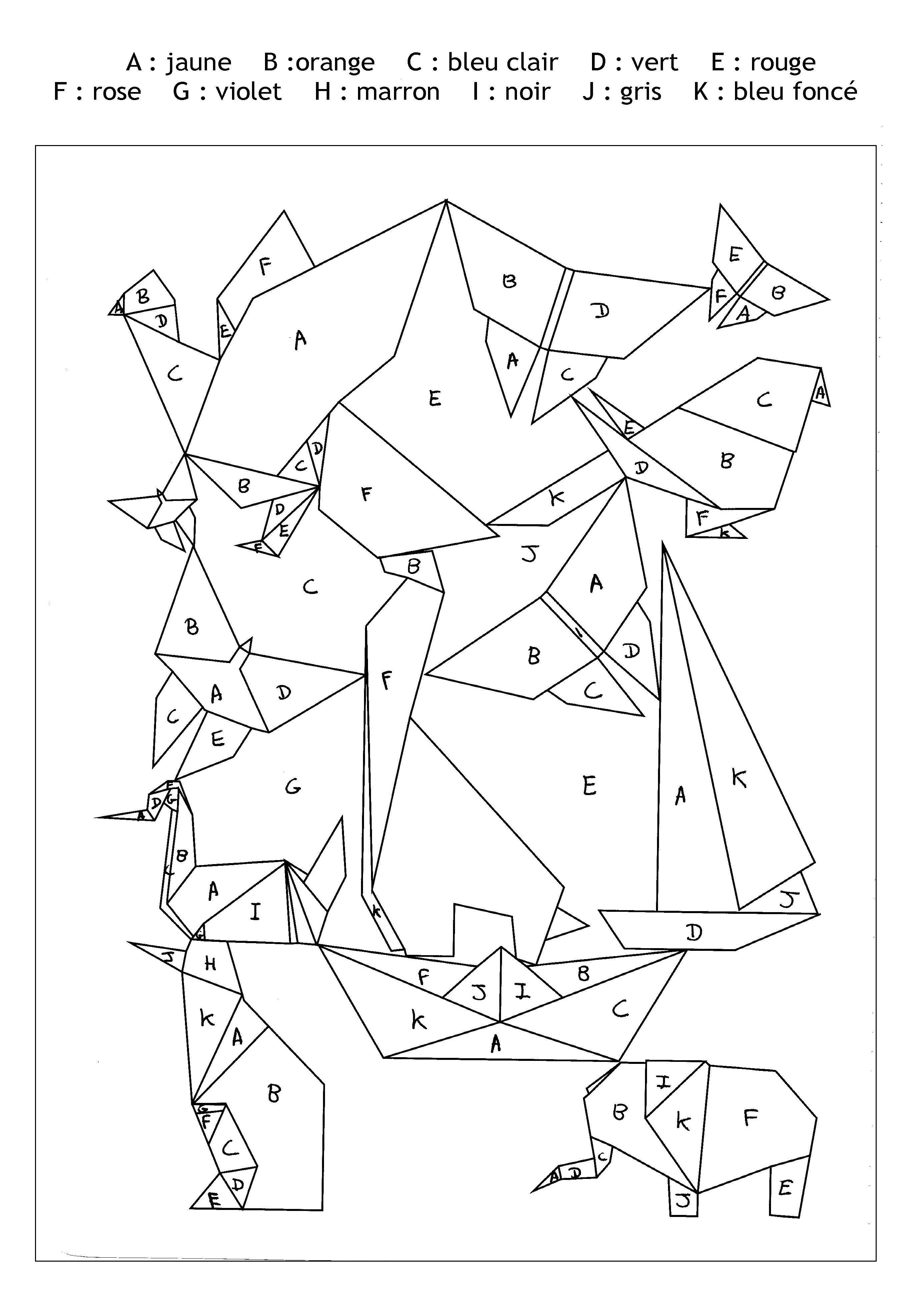 Pour imprimer ce coloriage gratuit coloriage magique lettres origami cliquez