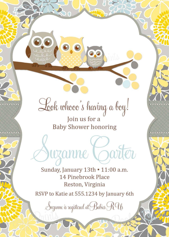Baby Shower Invitation ~ Owl baby boy shower invitation printable digital with free