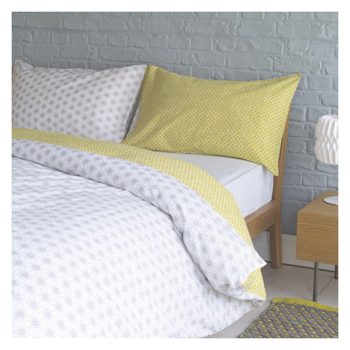 Duvet Ditsy Grey And Yellow Reversible Kingsize Cover Set