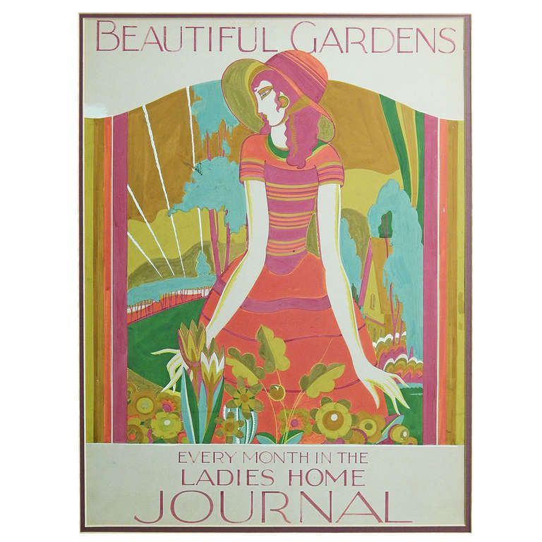 """Beautiful Gardens"" Brilliant Art Deco Painting for Ladies Home Journal 