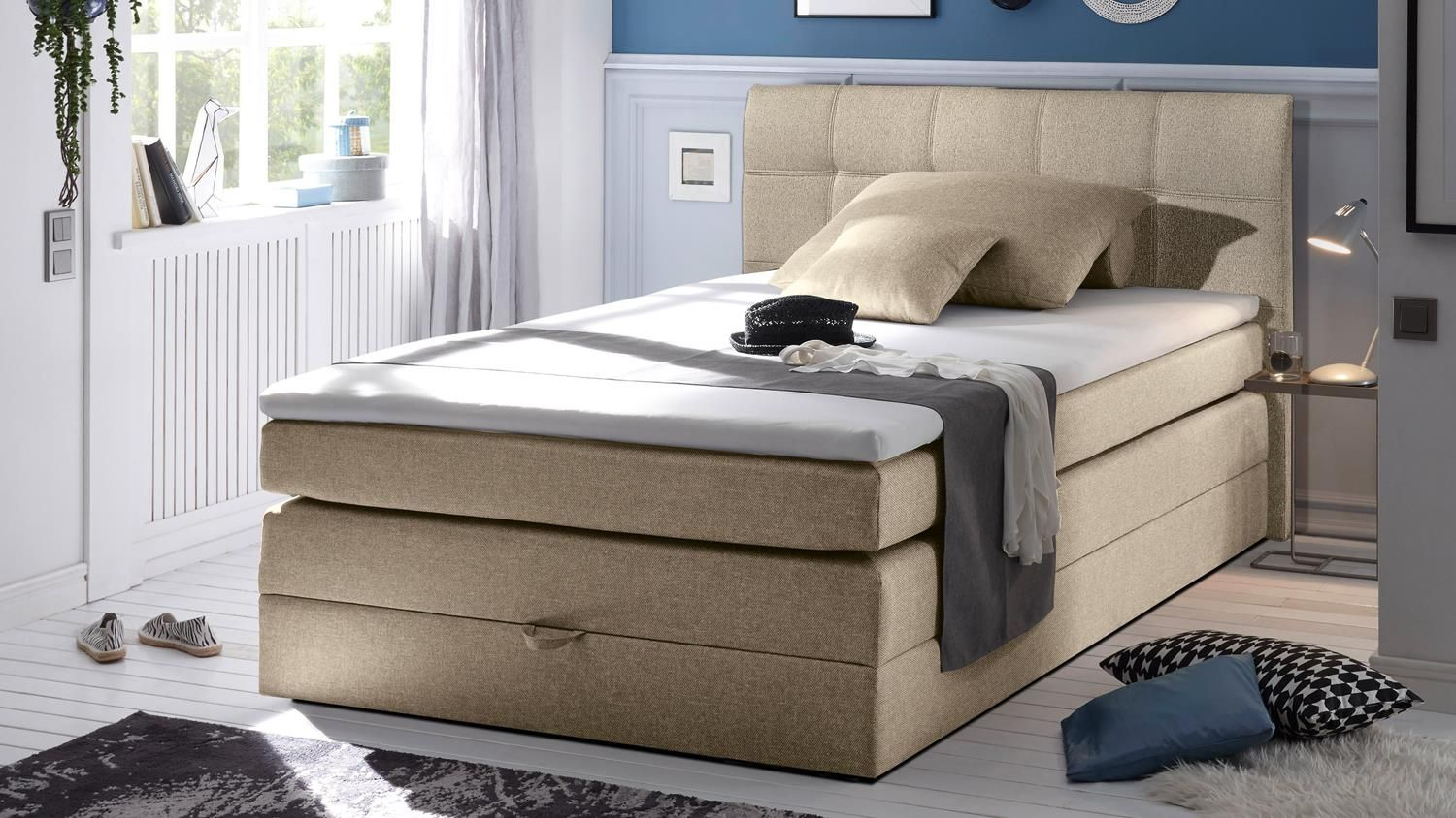 Topper Bett Boxspringbett New Bedford 1 In Stoff Beige Federkern Bettkasten