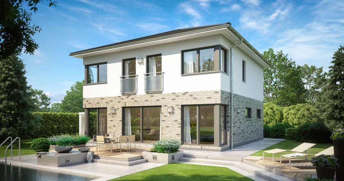 Stadtvilla weiße klinker  Massivhaus Kern-Haus Stadtvilla Centro Klinker Gartenseite | Haus ...
