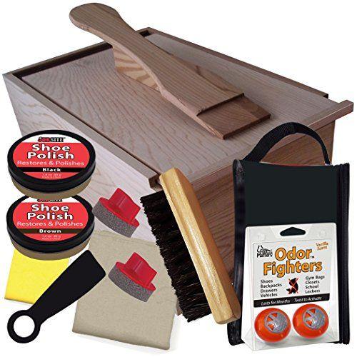 8afaa2bff48 Kiwi Select Shoe Shine Care Kit Valet II Wooden Box w  10 pc Content ...