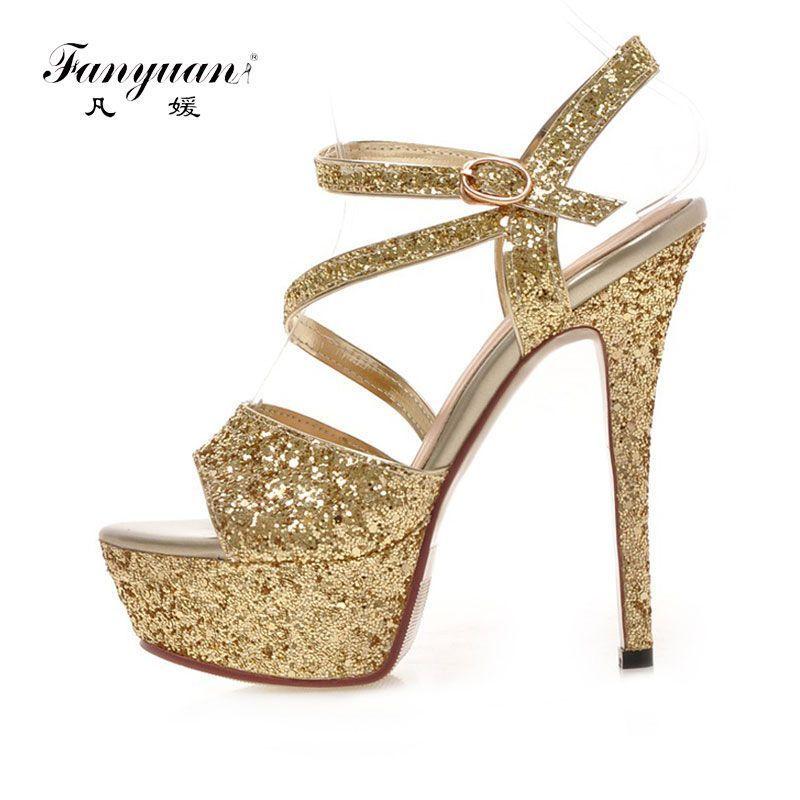 Fanyuan Gold Silver Buckle Glitter Fashion Sexy Super High Heels Platform  Party Wedding Summer Girl Female a7eab610b6ed