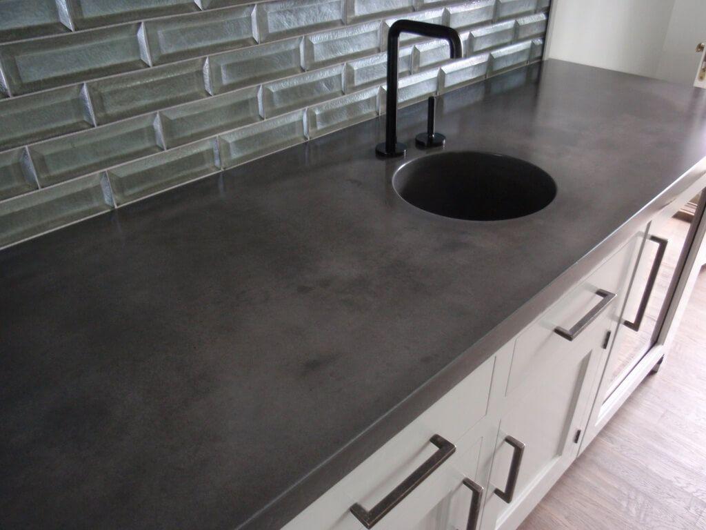 Kitchen Island Dark Gray Concrete Countertops Replacing