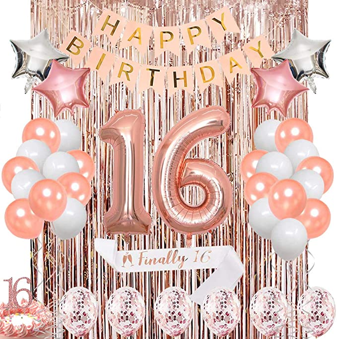 Gold and Pink Balloons- Fabulous Birthday Balloon Gold Confetti Balloons Sweet 16 Decorations Birthday Decorations