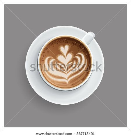 Cuccino Cup With Hearts Design On Top Coffee Vector Illustration