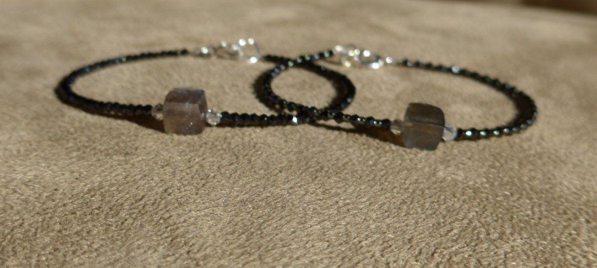 Labradorite Bracelet, Black Spinel Bracelet, Gemstone Bracelet, Black Bracelet, Blue Labradorite, Skinny Bracelet, Dainty Bracelet by ThreeMagicGenies on Etsy