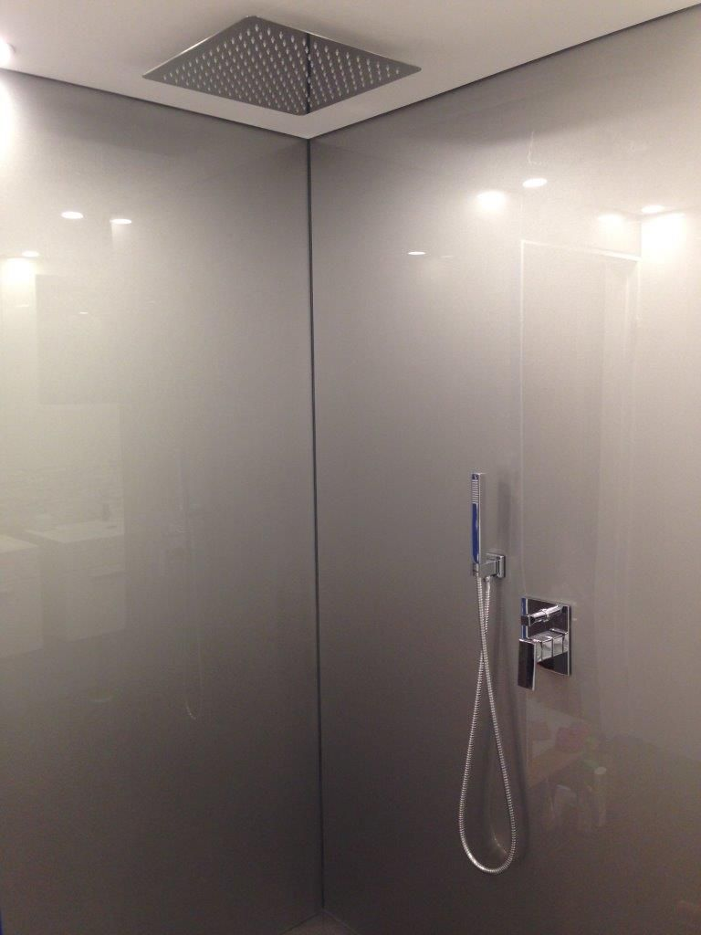 Acrylic Shower Splash Painted In Silver Metallic #no More Grout To Clean#  Installed By
