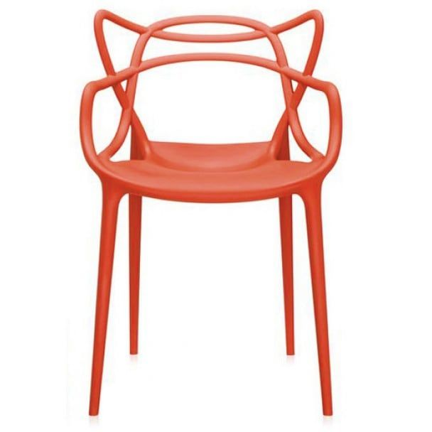 2xhome - Dining Room Chair - Red - Modern Contemporary Designer Arm Chair Modern Stacking Dining Chair (Polypropylene)
