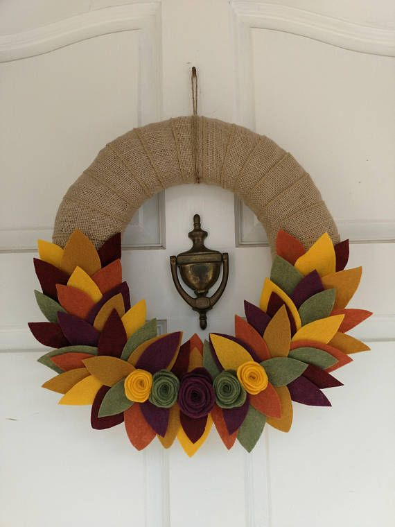 Photo of Fall burlap wreath, fall leaves wreath, fall wreath, burlap wreath