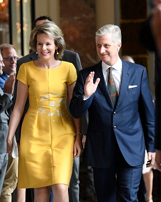 Queen Mathilde and King Philippe hosting a reception for the Mayors of Belgium at the Castle of Laeken.