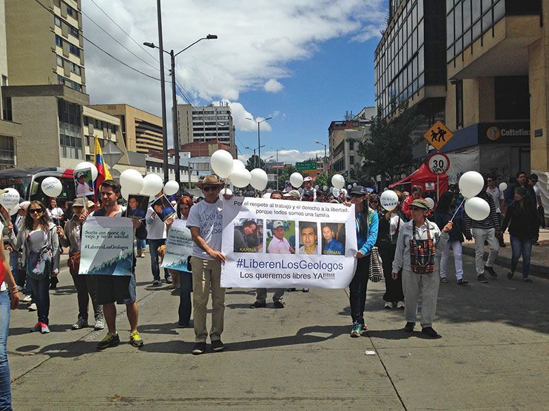 "Geologists Clamor for Freedom in the Field - ACGGP President Jaime Checa leading fellow geologists in a ""March for Life"" in Bogotá on March 8."