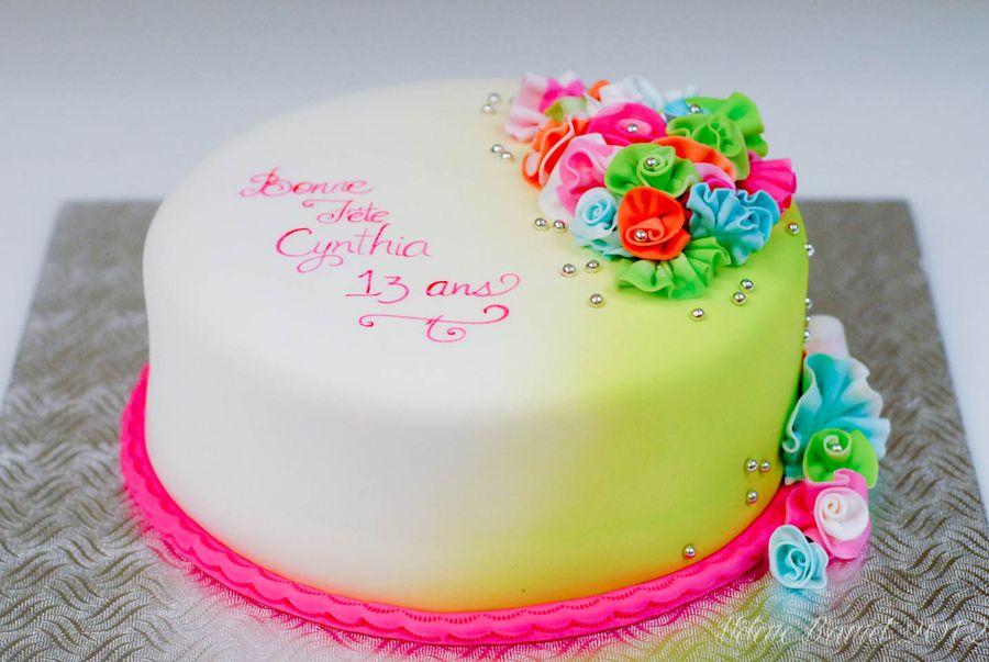 Neon Birthday Cakes Neon Ruffles Birthday Cake